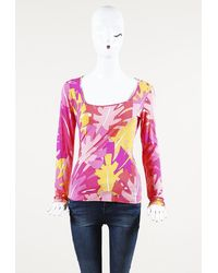 Emilio Pucci Printed Square Neck Top Pink/multicolor/geometric Sz: L