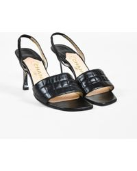 Chanel - 2000 Black Leather Quilted Slingback Sandals - Lyst