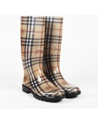 Burberry - Haymarket Check Rubber Rain Boots - Lyst