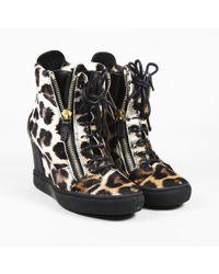 3357751bdea5 Giuseppe Zanotti - Multicolor Pony Hair Leopard Print Wedge Sneakers - Lyst