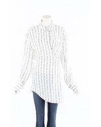 Off-White c/o Virgil Abloh Monogram Striped Blouse Black/white/monogram Sz: Custom