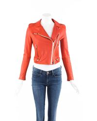 IRO Red Leather Cropped Biker Jacket Red Sz: S