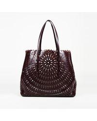Alaïa Laser Cut Leather Tote Bag - Red