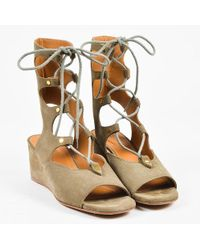 Chloé Olive Suede Lace Up Peep Toe 50mm Wedge Gladiator Sandals
