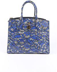 Louis Vuitton City Steamer Mm Floral Lace Satchel Bag Blue/white/floral Print Sz: M