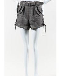 Self-Portrait Check Double Zip Wool Shorts - Grey