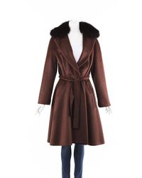 Max Mara Alpaca Fox Fur Belted Coat Brown/orange/animal Print Sz: L