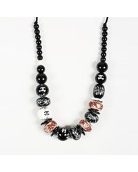 Chanel 2006 Carved Resin 'cc' Rope Necklace - Black