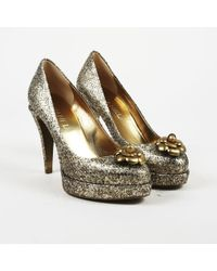 Chanel - Nwt Fall 2011 Metallic Gold Snakeskin Camellia Court Shoes - Lyst