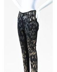 Wes Gordon Black Silver Wool Mesh Beaded Embellished Skinny Trouser Trousers
