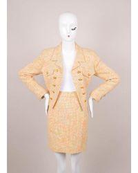 Chanel Multicolored Knit Skirt Suit - Orange