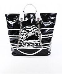 Chanel Small La Pausa Bay Black Vinyl Shopping Tote Bag Black/white Sz: L