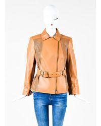 Akris - Tan Leather Laser Cut Belted Jacket - Lyst