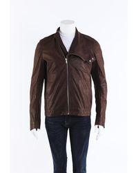 Rick Owens Macassar Leather Jacket Men's Brown Sz: Xl