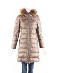 Moncler Nantesfur Fur Hood Puffer Coat - Brown