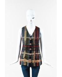 Chanel - Nwot Runway 2015 Multicolour Tweed Cotton Sleeveless Buttoned Vest - Lyst