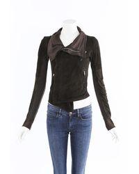 Rick Owens - Suede Wool Moto Jacket Brown Sz: S - Lyst