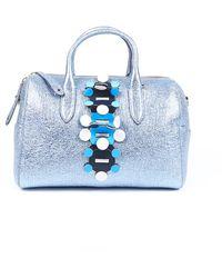 Anya Hindmarch Vere Radius Metallic Leather Satchel Bag Blue/metallic Sz: M