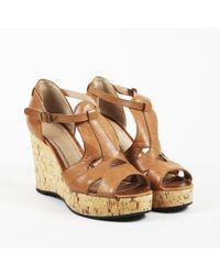 aeb9a8b67f1 Lyst - Chloé Black Leather Open Toe Cork Wedge Heel Sandals in Black