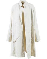 Urban Zen - Cream Linen Blend Duster Jacket - Lyst