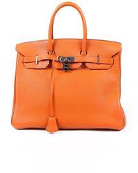 Hermès Birkin 35 Potiron Clemence Bag Orange Sz: L