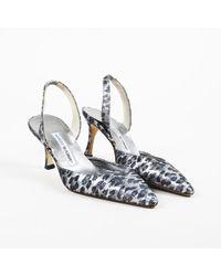 "Manolo Blahnik - Grey Animal Print ""carolyne"" Slingback Court Shoes - Lyst"