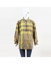 Burberry Brit - Multicolour Cotton Blend Long Sleeve Plaid Popover Shirt - Lyst