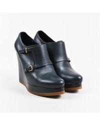 Jil Sander - Blue Leather Platform Wedge Heel Ankle Boots - Lyst