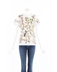 Dior Multicolor Printed Cotton Linen T-shirt Cream/multicolor Sz: S - White