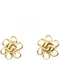 Chanel Vintage Cc Floral Earings - Metallic
