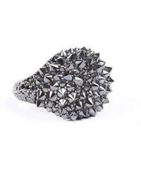 David Yurman 18k White Gold Black Diamond Ring Black/silver Sz: 7 - Multicolour