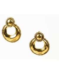Chanel - Vintage Day To Night Gold Tone Hammered Convertible Hoop Clip On Earrings - Lyst