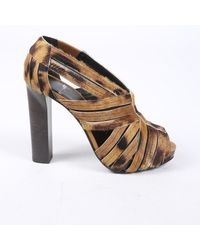 Pierre Hardy Animal Print Calf Hair Cage Sandals - Brown