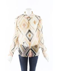 Dior Geometric Sheer Silk Blouse - Natural