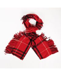 "Burberry Red Multicolour Wool & Cashmere ""nova Check"" ""st. Helene"" Scarf"