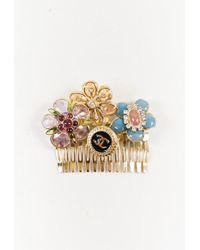 Chanel Gold Tone Multicolour Gripoix Enamel & Crystal Flower 'cc' Hair Comb - Metallic