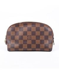 Louis Vuitton Damier Ebene Coated Canvas Cosmetic Pouch Brown Sz: M
