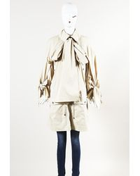 Chanel Knee Length Drawstring Coat Cream Sz: S - Natural