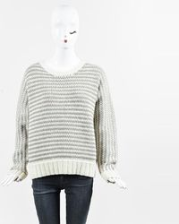 Wes Gordon - White & Taupe Wool & Cashmere Purl Knit Sweater - Lyst