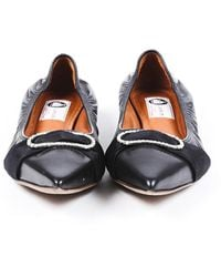 Lanvin Leather Crystal Pointed Flats Black Sz: 9