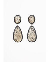 Sheryl Lowe Fossilized Coral Diamond Drop Earrings Brown Sz: