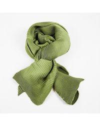 Loro Piana Green Cashmere Silk Pleated Scarf