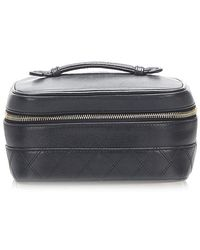 Chanel Matelasse Lambskin Leather Vanity Bag - Black
