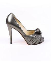 Christian Louboutin Lady Gres Peep Toe Pumps Grey Sz: 5.5