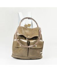 Brunello Cucinelli - Green Patent Leather & Suede Top Handle Backpack - Lyst