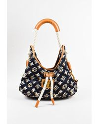 "Louis Vuitton - Blue White Brown Nylon Monogram ""bulles Mm"" Shoulder Bag - Lyst"