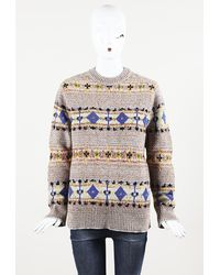 "Victoria Beckham Wool Knit ""fairisle"" Jumper Pink/multicolor Sz: Xs - Multicolour"
