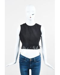 Tamara Mellon - Nwt Black Suede Leather Fringe Sleeveless Crop Top - Lyst