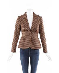 Delpozo Plaid Wool Blazer Jacket - Multicolour
