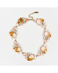 Nina Ricci - Gold Tone Metal Pink Crystal Embellished Necklace - Lyst